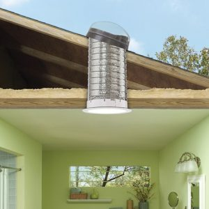 side perspective of sun tunnels going through roof into home